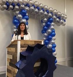 Teacher at podium