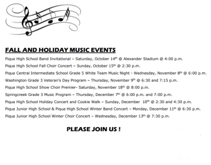 Fall and Holiday Music Events