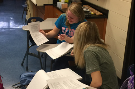 Two students collaborating in Mr. Williams Chemistry class