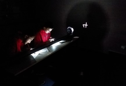 Students in Mr. Shawn Agne's High School Physics class are working with Vernier Lenses to measure light and images.