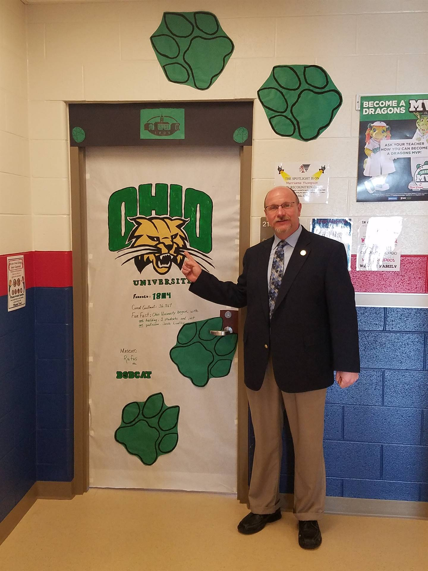 Mr. Thompson showing his love for Ohio University
