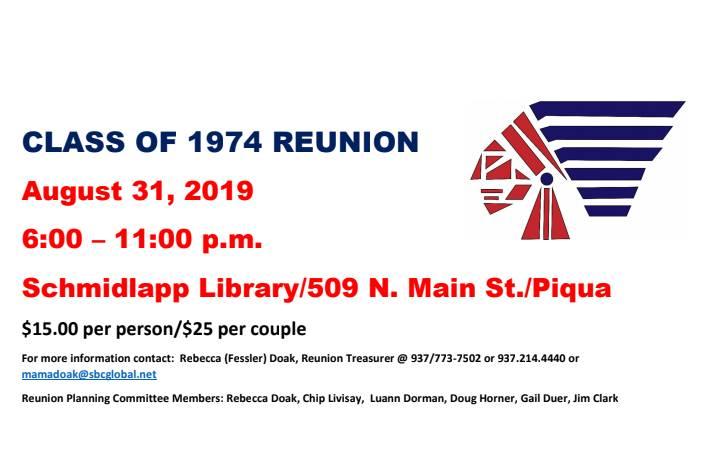 Class reunion info 1974